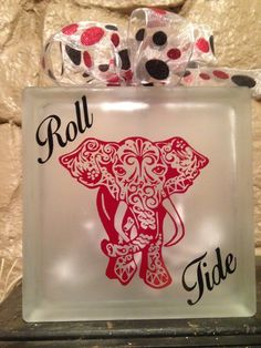 Alabama Crimson Tide Glass Block with lights