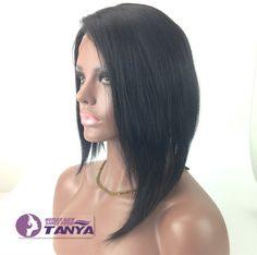 side long Bob Short 100% India remay human hair full lace wig/front lace wig  #tanya #FullWig