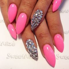 stiletto nails with rhinestones and bows - Google Search