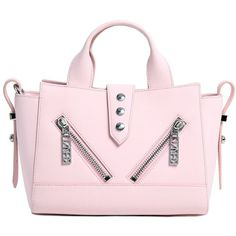 Kenzo Women Mini Kalifornia Rubberized Leather Bag (6.950.445 IDR) ❤ liked on Polyvore featuring bags, handbags, shoulder bags, pink, mini handbags, mini shoulder bag, pink leather handbags, studded purse and leather handbags