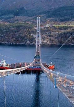 The Hardanger Sky Bridge, affectionately called the Norway Sky Bridge. 20 meters longer than California's Golden Gate Bridge will be completed and open August Norway Sky Bridge, Places To Travel, Places To See, Scary Bridges, Visit Norway, Norway Travel, Destinations, Suspension Bridge, Covered Bridges