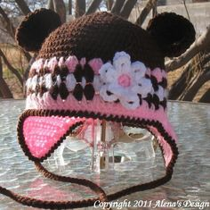 Crochet Hat with Bear Ears