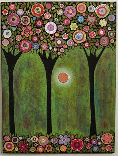 3 Blooming Trees Collage Painting | Flickr - Photo Sharing!
