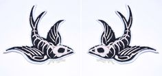 Gothic Swallow Bird Skeleton Rockabilly Iron On Embroidery Patch MTCoffinz - Mirror Pair by MTthreadz on Etsy https://www.etsy.com/listing/107560889/gothic-swallow-bird-skeleton-rockabilly