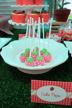 Bree's Strawberry Garden: A Strawberry Shortcake 1st Birthday Party  Strawberry cake pops