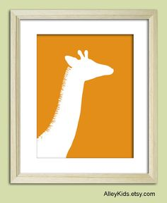 Giraffe Nursery Wall Art 8x10 Childrens Jungle Wall Art $16.  So cute!  I love the fringe on his neck - and the other jungle animals are pretty great, too.