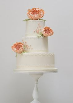 Peonies and Pearls wedding cake---a lovely vintage-y cake. I love the antiqued color of the fondant and piped decorations.