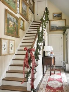 Amazing collection of paintings for a gallery wall! All Things Farmer: Atlanta Homes and Lifestyles Christmas House English Country Style, French Country, English Farmhouse, Farmhouse Front, Farmhouse Chic, Country Farmhouse, Rustic Chic, All Things Christmas, Christmas Stairs