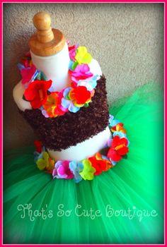 Hula Girl Tutu Dress Set-hula, tutu, luau party, hawaiian, hawaii