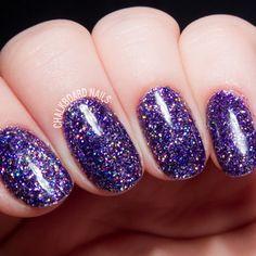 How To: Party Like a Rockstar (In Purple Glitter Gels)   Glitter nails tutorial using gel