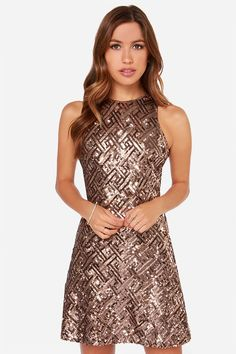 Dress the Population Mia Bronze Sequin Dress at LuLus.com! Also how would you feel about a  pattern?