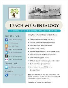 Teach Me Genealogy: Free Family History Bundle Finally Released! Free Genealogy Sites, Genealogy Forms, Genealogy Search, Family Genealogy, Genealogy Humor, Free Genealogy Records, Genealogy Chart, Family Tree Research, Family Tree Chart