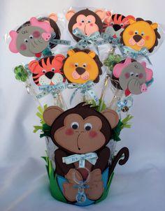 Monkey centerpiece metal bucket / Baby Shower / Baby Boy, via Etsy.