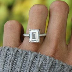 5.00 Carat Emerald Diamond & Three Row Pave Engagement Ring, GIA Certified Emerald Cut Diamond Engagement Rings for Women, Three Row Diamond Pave, Raven Fine Jewelers, Beverly Hills #fineweddingring