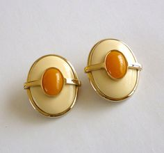 Vintage Cream and Caramel Clip Back Earrings