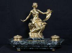 Encrier en bronze et marbre, signé Georges Bareau in Collections, Ecriture, dessin, Encriers   eBay