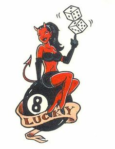 c0101f782 Lucky devil 8 ball pinup tattoo illustration Traditional Tattoo Devil,  Traditional Sleeve, Chicken Tattoo