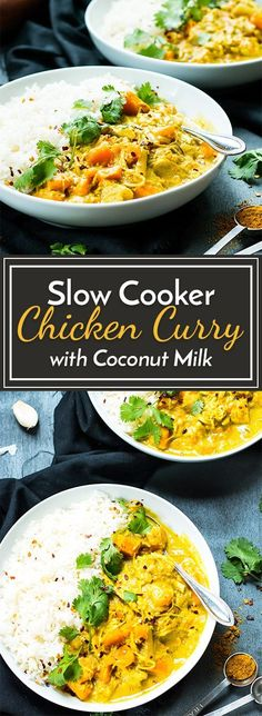 Cooker Chicken Curry that is made with coconut milk and sweet potatoes! Slow Cooker Chicken Curry that is made with coconut milk and sweet potatoes! Slow Cooker Chicken Curry that is made with coconut milk and sweet potatoes! Chicken Curry Coconut Milk, Curry With Coconut Milk, Chicken Sweet Potato Curry, Yellow Curry Chicken, Healthy Chicken Curry, Thai Yellow Curry, Coconut Milk Recipes, Chicken Curry With Rice, Chicken And Chickpea Curry