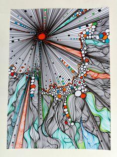 Peinture originale fait avec les marqueurs Posca (peinture acrylique) et d'autres marqueurs sur papier basik 160grs. Dimensions : 21 x 29,7 cm