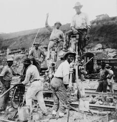(animated stereo) Drilling the Panama Canal, 1910 Panama Canal, Panama City Panama, Caribbean Culture, West Indian, New City, Central America, South America, Construction, World