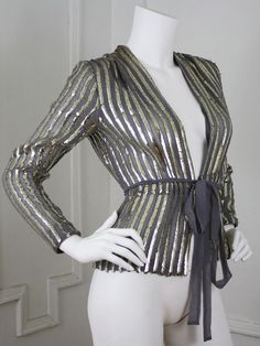 70's Vintage Stunning Glam Rock Grey Chiffon and Sequin Jacket. via Etsy.