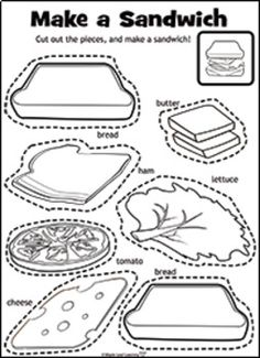 """Let's Make a Sandwich Activity - Note: This activity contains a student set in black & white as well as a pre-colored teachers' set. Color and cut out the ingredients. Build the sandwich and sing along with """"Let's Make a Sandwich"""". Kindergarten Worksheets, Worksheets For Kids, Printable Worksheets, Free Printable, English Activities, Preschool Activities, Nutrition Activities, English Lessons, Learn English"""