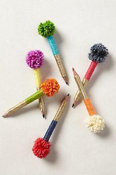 Cute colored pencils! Pom-Pom Pencils, Set of 6 contemporary desk accessories