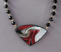 Red-Black-White Swirl Pendant Necklace by JanGeisen, via Flickr