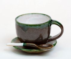 Coffee color ceramic handmade cup with spoon and by PotterAsh