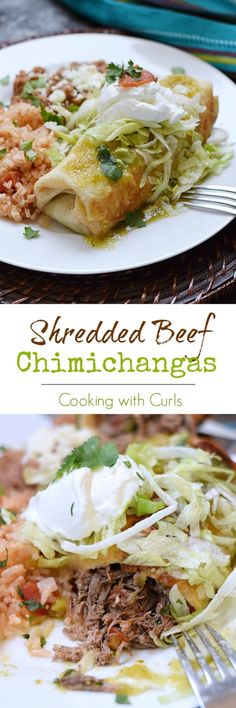 Restaurant quality Shredded Beef Chimichangas that are really easy to make at home and taste amazing | cookingwithcurls.com