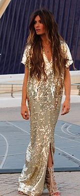 Madame De Rosa Gold Sparkling Maxi Dress