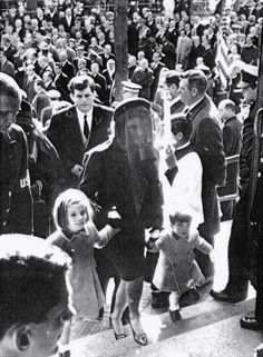 Jackie Kennedy with children Caroline and John Jr. arrive at JFK's funeral, November 25, 1963.  RIP♛★♛★♛RIP http://en.wikipedia.org/wiki/State_funeral_of_John_F._Kennedy