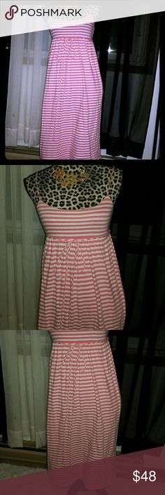 Striped Summer Maxi Dress Super cute spagetti strap striped summer dress in pink and white. Maxi style and a empire waist with a matching tie around the waist bow. In excellent condition with no stains, tears, or wear. J. Crew Dresses Midi