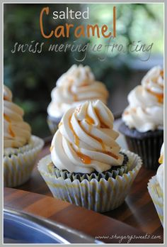 Salted Caramel Swiss Meringue Frosting: smooth and creamy frosting on a dark chocolate cupcake #saltedcaramel #swissmeringue www.shugarysweets.com