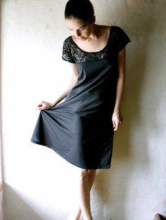 Black Lace Cotton Jersey Tunic Dress by larimeloom on Etsy