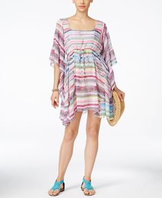 98deac923a Jessica Simpson Limelight Striped Cover-Up Dress Women - Swimwear - Macy s