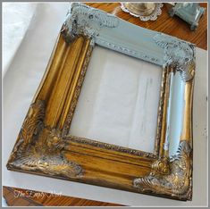 what do you do with a rummage sale frame to give it a fresh look.a coat of Annie Sloan Chalk Paint™ Provence.apply Annie Sloan's Craqueleur™ varnish crackle and some of Annie's soft dark wax. Crackle Painting, Mirror Painting, Painting Frames, Chalk Painting, Chalk Paint Mirror, Chalk Paint Projects, Chalk Paint Furniture, Painted Picture Frames, Distressed Picture Frames