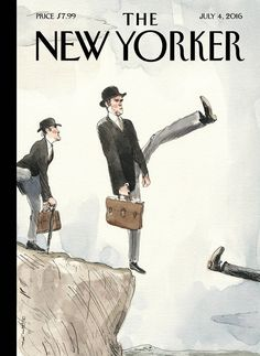 """Cover Story: Barry Blitt's """"Silly Walk Off a Cliff"""" - The New Yorker"""