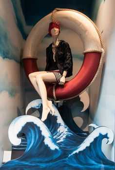 Moncler Window Display | Deauville Windows by Millington Associates | #VM #visualmerchandising #nautical