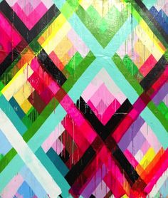 colour-saturated mural | cross-hatch geometric strokes