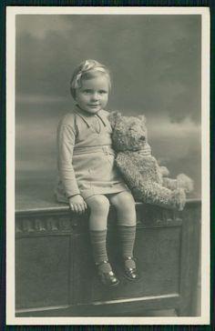 Big Teddy Bear Steiff ? & cute Child Girl original old 1920s Real Photo postcard