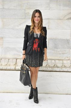 Rachel Bilson patterned dress, black blazer, and booties
