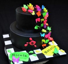 Glow In The Dark Birthday Cakes - The Best Image Home Design Neon Birthday Cakes, Butterfly Birthday Cakes, Birthday Party For Teens, Neon Party Themes, Bolo Neon, Neon Cakes, Cake Craft, Glow Party, Cupcake Cakes