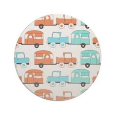 Retro Camping Trailer Turquoise Orange Vintage Car Drink Coasters