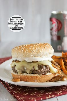 Recipe: Hamburger Recipes / Saturdays with Rachael Ray - Worcestershire Burgers with Gouda, Mushrooms and Ranch Dressing - tableFEAST Hamburger Recipes, Meat Recipes, Cooking Recipes, Molho Ranch, Queijo Gouda, Rachel Ray Recipes, Ranch Dressing Recipe, Burgers And More, Beef Burgers