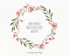 Watercolor wreath: 1 PNG floral wreath by LisaGlanzGraphics