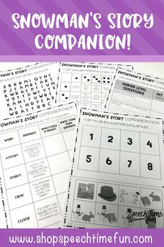 Snowman's Story Companion Pack For Speech Therapy - use this winter themed wordless picture book to target a variety of speech goals, no prep, perfect for mixed groups
