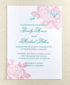 Roses and Dragonflies Wedding Invitation Suite by encrestudio, $3.50