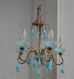 1 lustre 5 bras de lumière - opaline turquoise - pampilles goutelettes