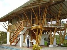 Easy Contemporary Home Decor Ideas Bamboo House Design, Tropical House Design, Tropical Houses, Bamboo Architecture, Tropical Architecture, Bamboo Art, Bamboo Crafts, Bamboo Building, Hut House